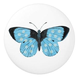 Blue Butterfly Vintage Illustration Ceramic Knob