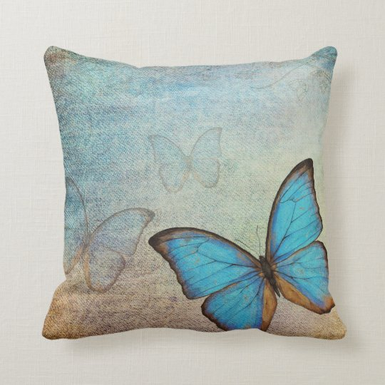 Blue Butterfly Vintage Pillow