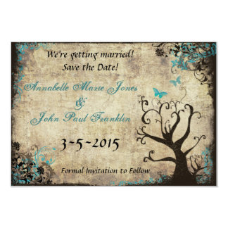Blue Butterfly Vintage Save the Date Card 9 Cm X 13 Cm Invitation Card