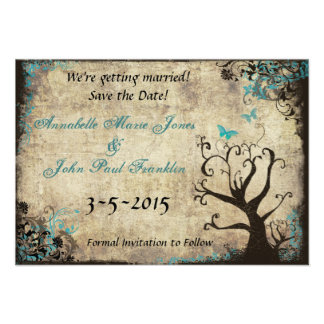 Blue Butterfly Vintage Save the Date Card