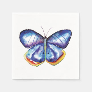 Blue Butterfly Watercolor Cocktail Paper Napkins