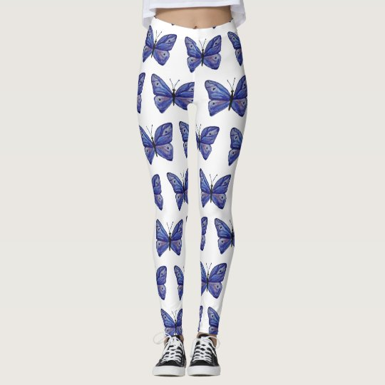 Blue Butterfly Watercolor Custom Leggings