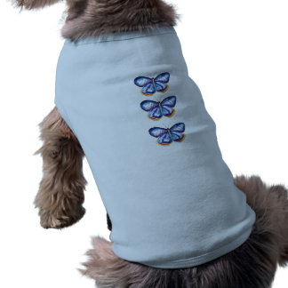 Blue Butterfly Watercolor Doggie Ribbed Tank Top