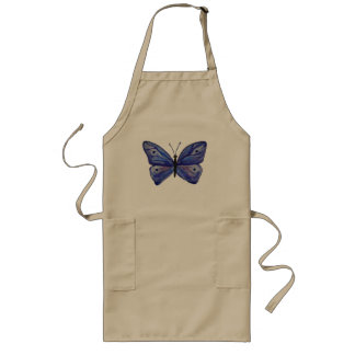 Blue Butterfly Watercolor  Long Apron