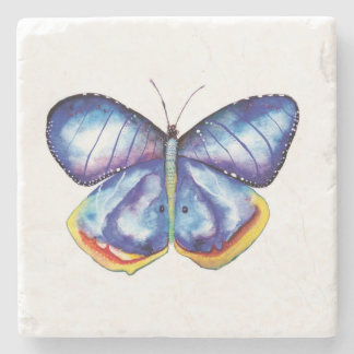 Blue butterfly Watercolor Marble Stone Coaster
