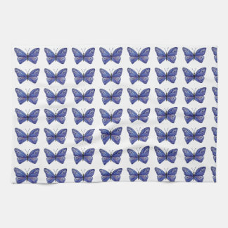 Blue Butterfly Watercolor Tea Towel