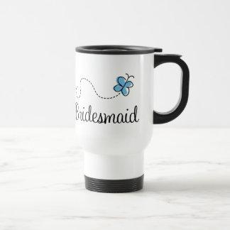 Blue Butterfly Wedding Bridesmaid Travel Mug