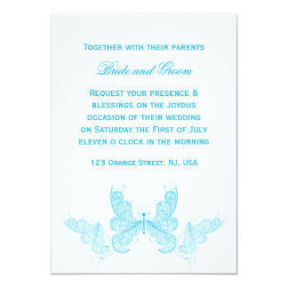 Blue butterfly wedding invitation