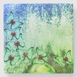 Blue Butterfly Weeping Tree Stone Coaster
