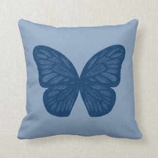 Blue Butterfly Wings Illustration Throw Pillow