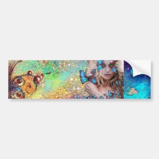 BLUE BUTTERFLY WITH GREEN GOLD SPARKLES BUMPER STICKER