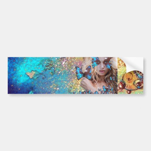 BLUE BUTTERFLY WITH GREEN GOLD SPARKLES BUMPER STICKERS