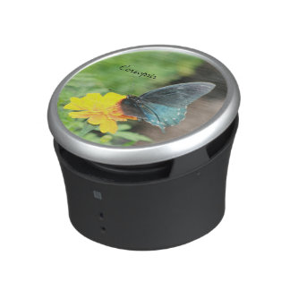 Blue Butterfly Yellow Coreopsis Portable Speaker