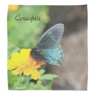 Blue Butterfly Yellow Coreopsis Summer Bandana