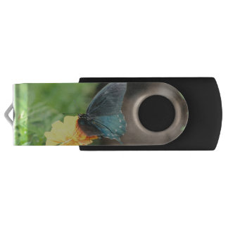 Blue Butterfly Yellow Coreopsis Summer USB drive Swivel USB 3.0 Flash Drive