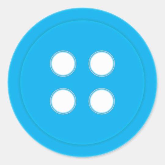 Blue Button Classic Round Sticker