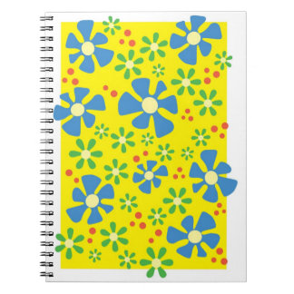 Blue Button Flowers Note Books