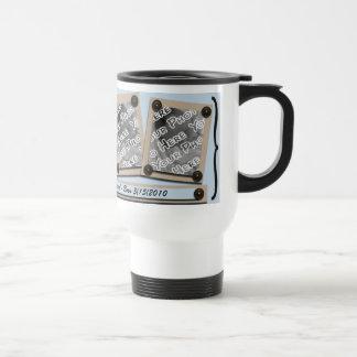 Blue Buttons & Brackets Travel Mug