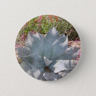 Blue cactus 6 cm round badge