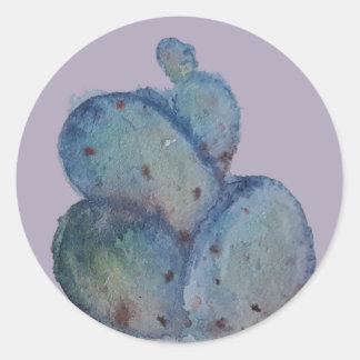 Blue cactus classic round sticker