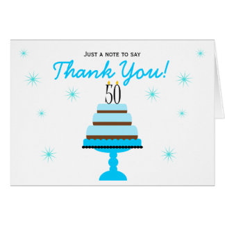 Blue Cake 50th Birthday Thank You Note Card