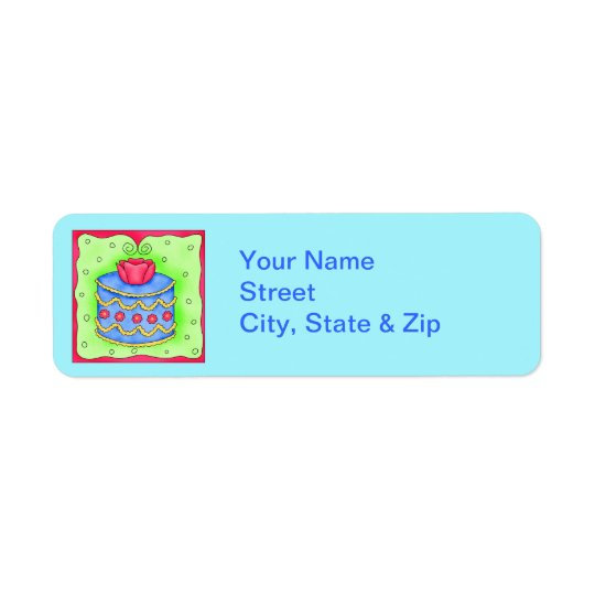 Blue Cake with Rose Turquoise Return Address Label