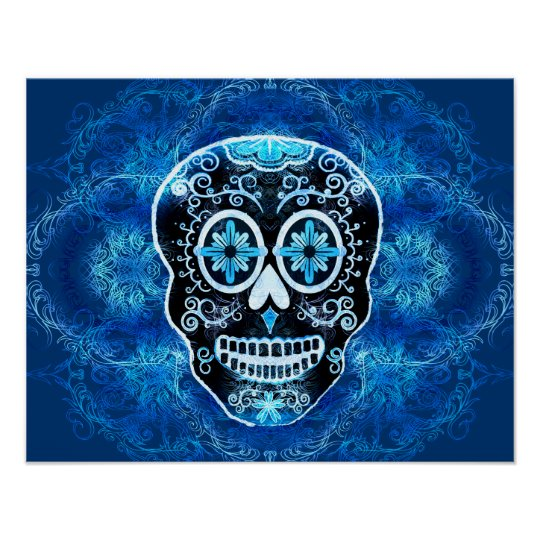 Blue Calavera Print