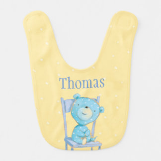 Blue Calico Bear Smiling on Chair Bib