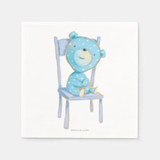 Blue Calico Bear Smiling on Chair Disposable Napkin
