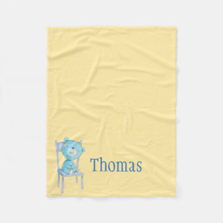 Blue Calico Bear Smiling on Chair Fleece Blanket