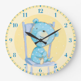 Blue Calico Bear Smiling on Chair Large Clock