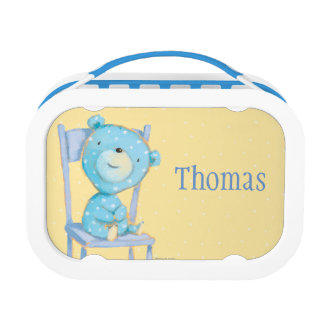 Blue Calico Bear Smiling on Chair Lunch Box