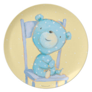 Blue Calico Bear Smiling on Chair Plate