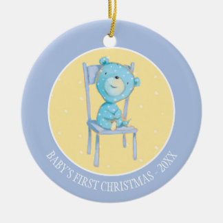 Blue Calico Bear Smiling on Chair Round Ceramic Decoration