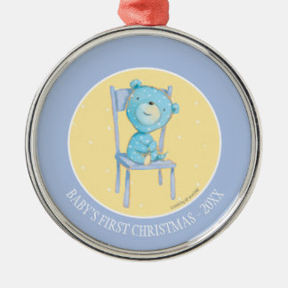 Blue Calico Bear Smiling on Chair Silver-Colored Round Decoration
