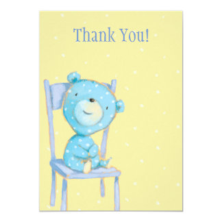 Blue Calico Bear Thank You Card