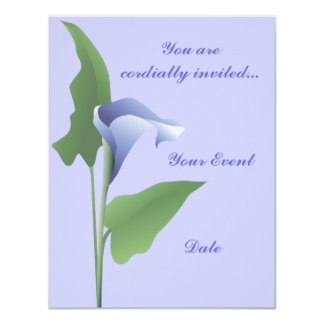 Blue Calla Lily Floral Invitation