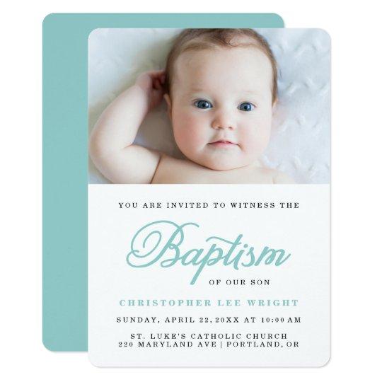 Blue Calligraphy Stylish Boy Baptism Invitation