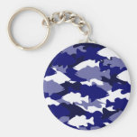 Blue Camo Bass Fishing Basic Round Button Key Ring