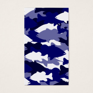 Blue Camo Bass Fishing Business Card