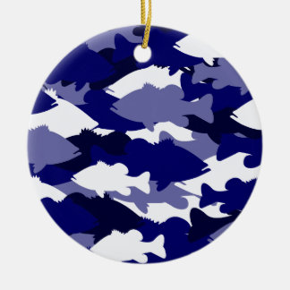 Blue Camo Bass Fishing Christmas Ornament