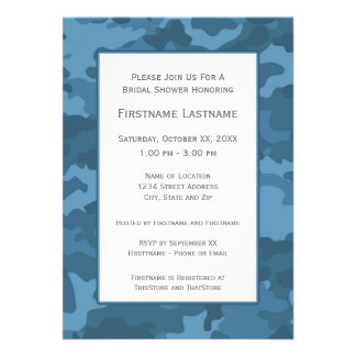 Blue Camo Bridal Shower or Engagement Party Custom Invite