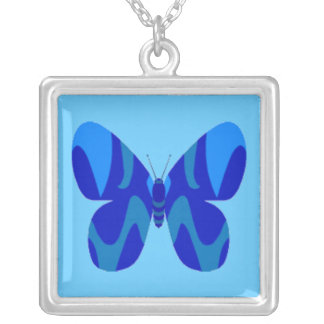Blue Camo Butterfly Square Necklace