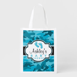 Blue Camo, Camouflage Baby Shower Market Tote