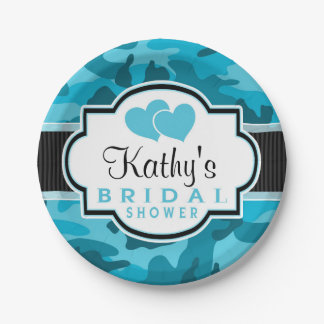 Blue Camo, Camouflage Bridal Shower Paper Plate