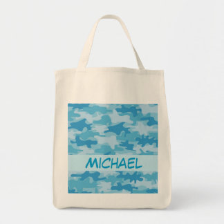 Blue Camo Camouflage Name Personalized Tote Bag