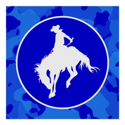 Blue Camo; Camouflage Rodeo Poster