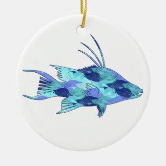 Blue Camo Hogfish Round Ceramic Decoration