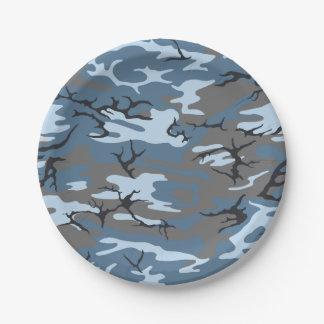 Blue Camo Paper Plate
