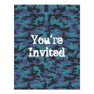 Blue camo pattern invite